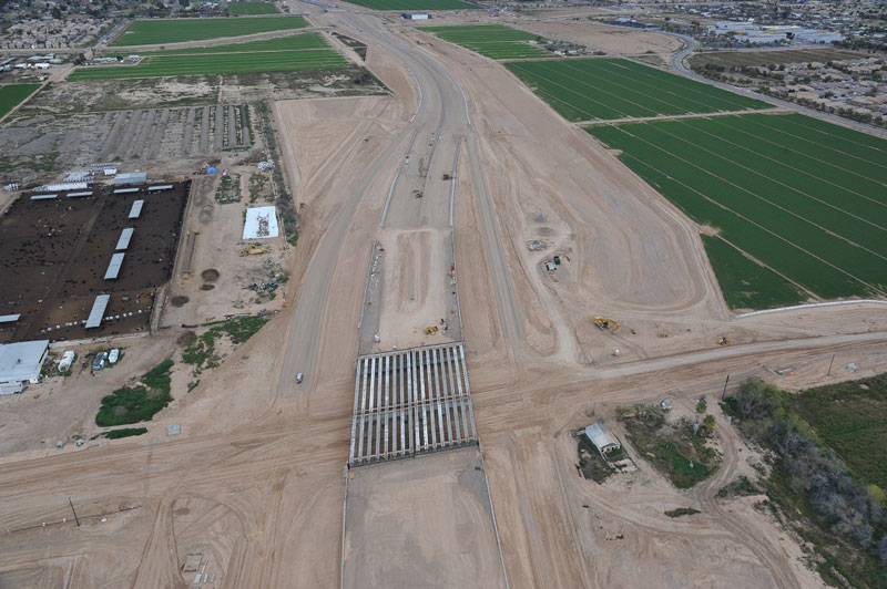 South Mountain Freeway Project: Aerial View of Installed Bridge Supports in Laveen Area - Feb. 25, 2019