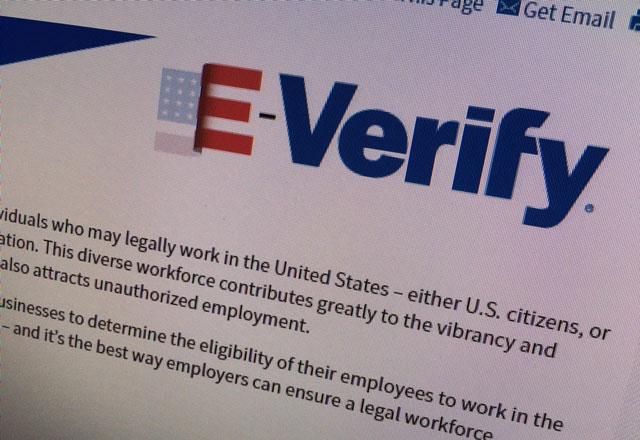 Partial view of the E-Verify website