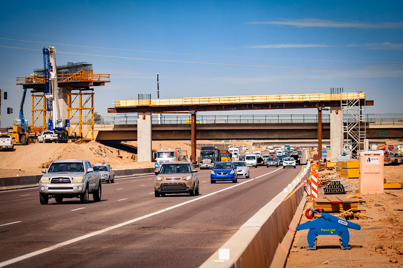 South Mountain Freeway Construction at Eastbound I-10 at 59th Avenue