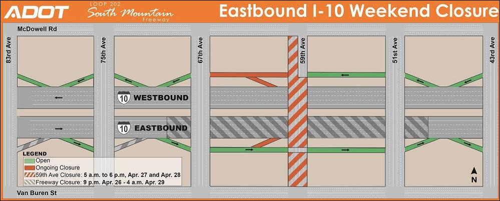 East bound I-10 Weekend Closure Map - April 26 - 29, 2019