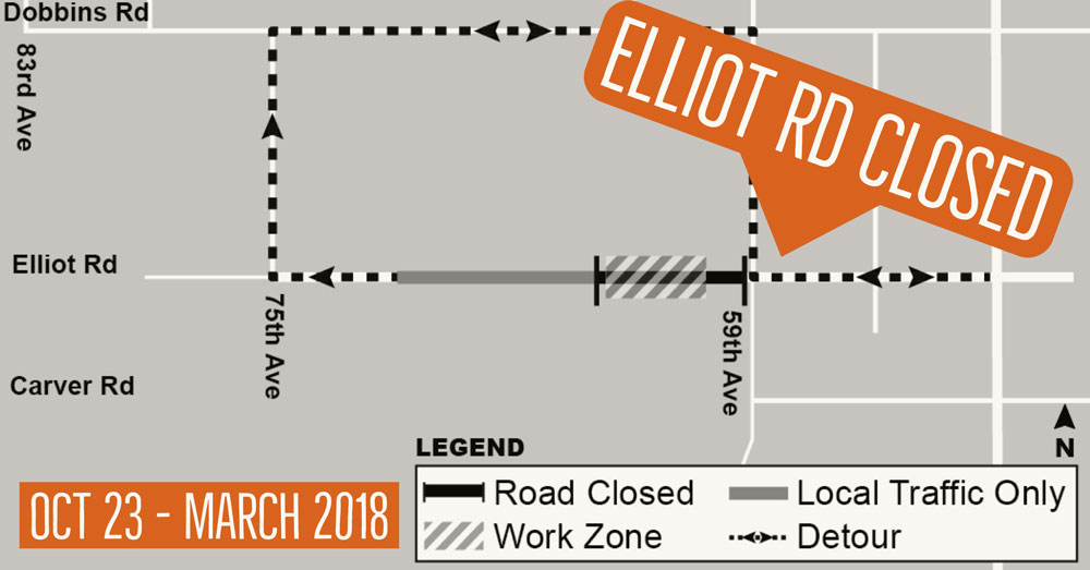 Elliot Road Road Closure Map Oct. 23 - March 2018