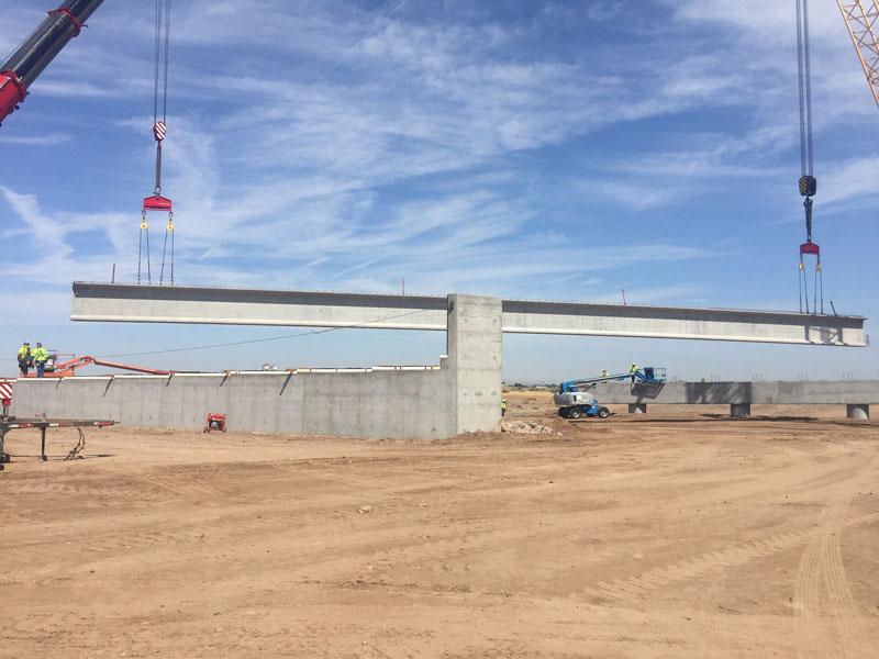 A 170 feet long, 169,000 pound, girder that will support traffic crossing Salt River