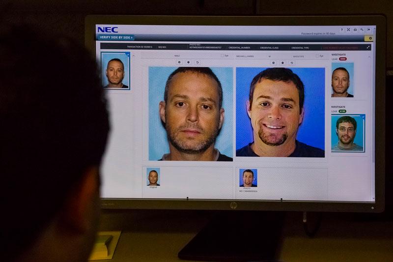 Close up of a facial recognition comparison