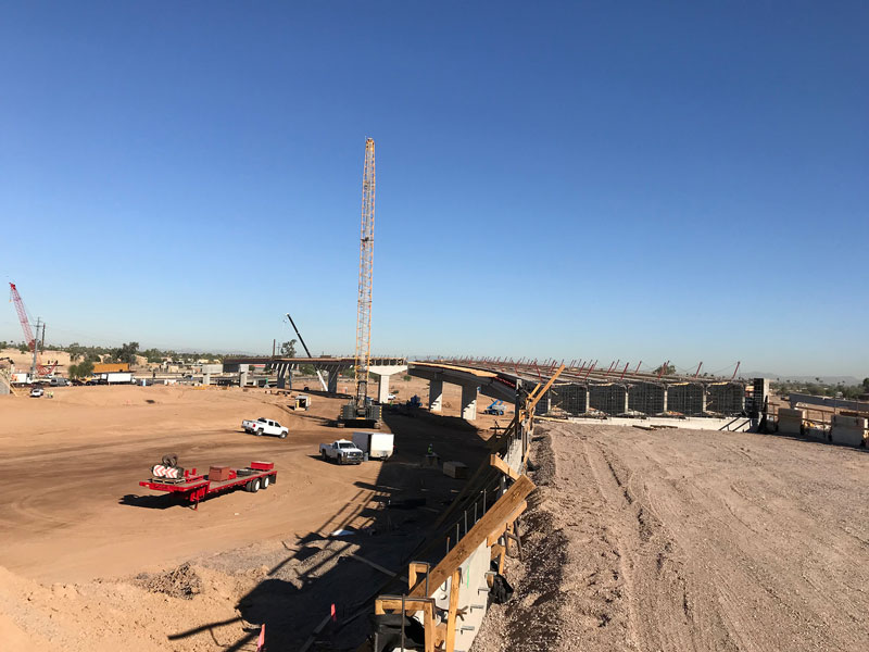 Future South Mountain Freeway flyover ramp under construction