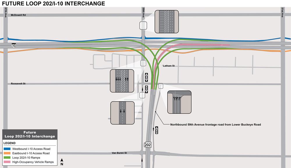 Future Loop 202 / I-10 Interchange Map