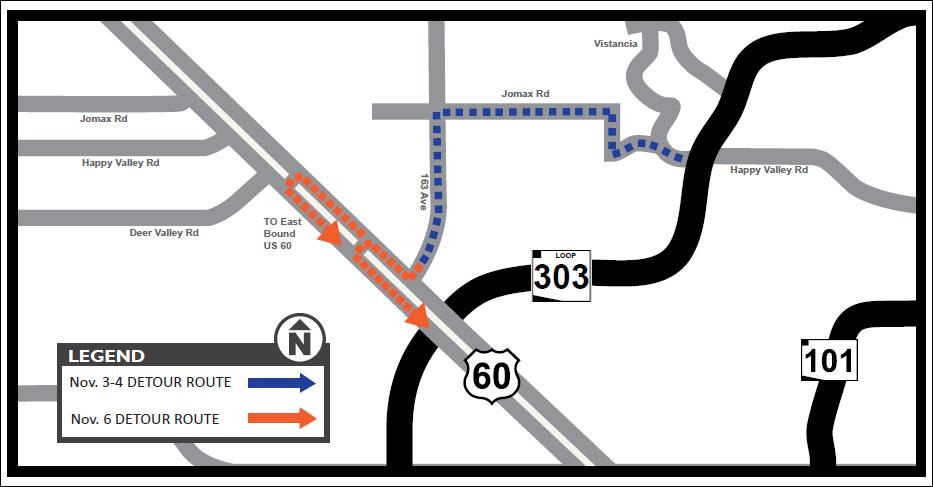 Grand Avenue Detour Map, starting Oct. 30, 2017