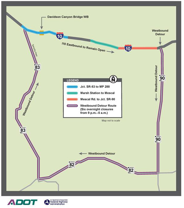 I-10 Quad Projects Detour Map - March 2016