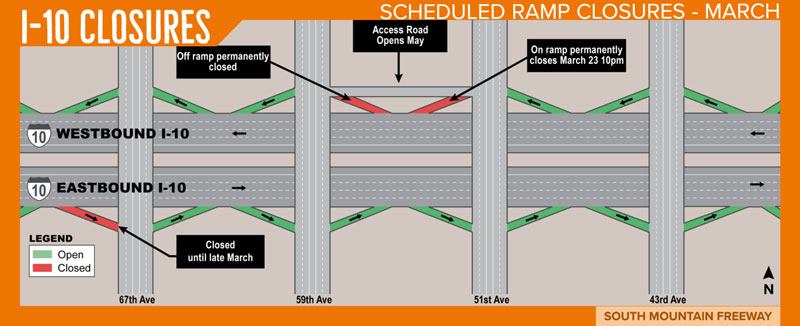 I-10 Ramp Closures Map - March 22, 2018