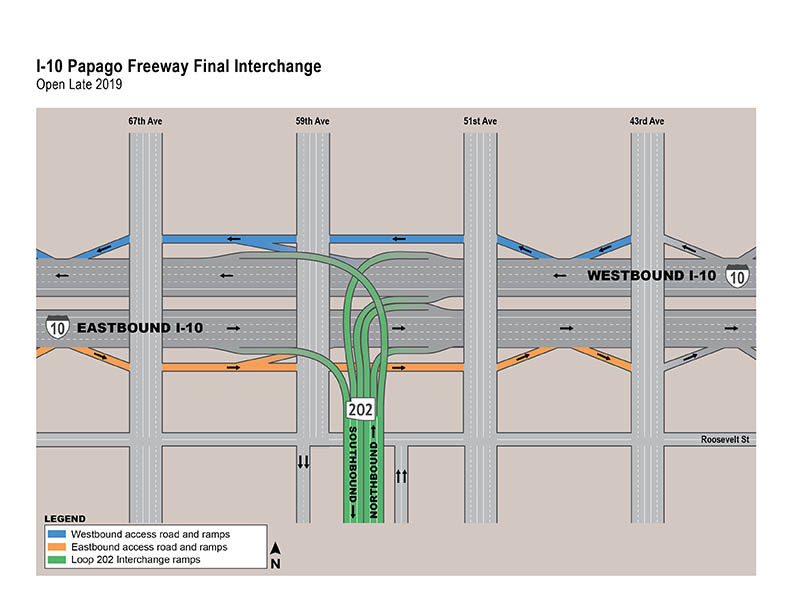 Illustration of Final Interchanges for I-10 Papago Freeway Ramps - 43rd - 67th Avenues