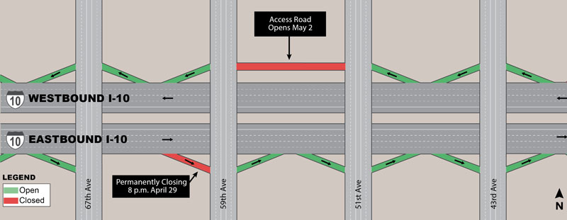 I-10 ramp eastbound 59th Ave Off-ramp closed permanently