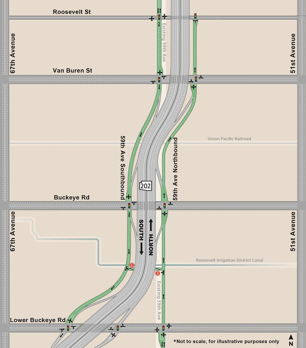 South Mountain Freeway frontage road map along the 59th Avenue alignment south of Interstate 10 (Papago Freeway)