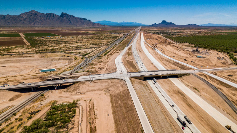 Aerial view of I-10 and SR 87 - April 18, 2019