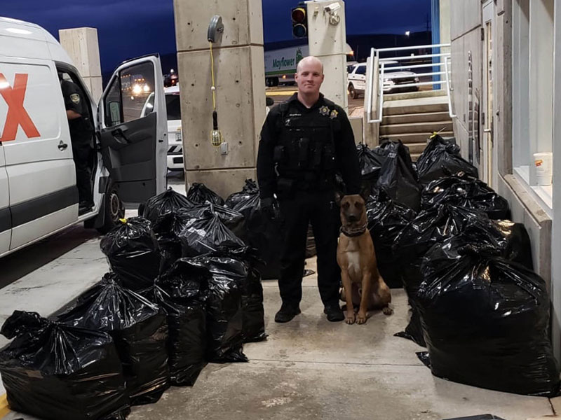 I-15 drug bust by Agency K-9 Unit seizes 1,113 pounds of Marijuana