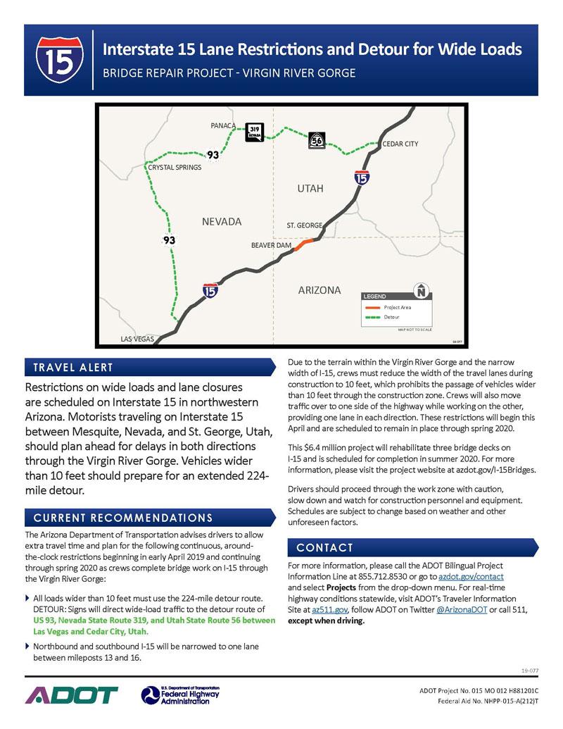 Interstate 15 Lane Restrictions and Detour for Wide Loads Flyer - April 2019