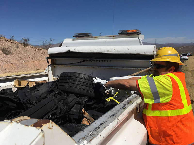 I-17 tire debris removed from shoulder near Black Canyon City area, May 22, 2018