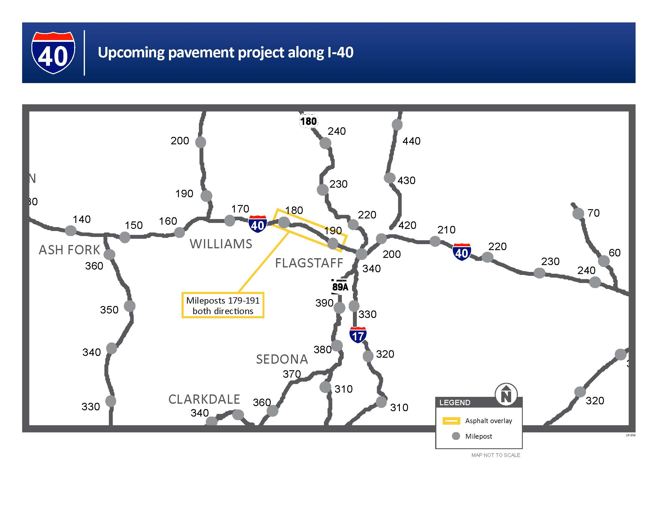 I-40 Paving Project Map, Milepost 179 - 191