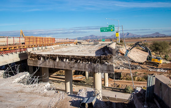 I-8 ramps at I-10 - 1/22/19, under construction and demolition