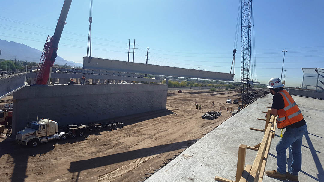 I-10 Ina Project site during installation of girders