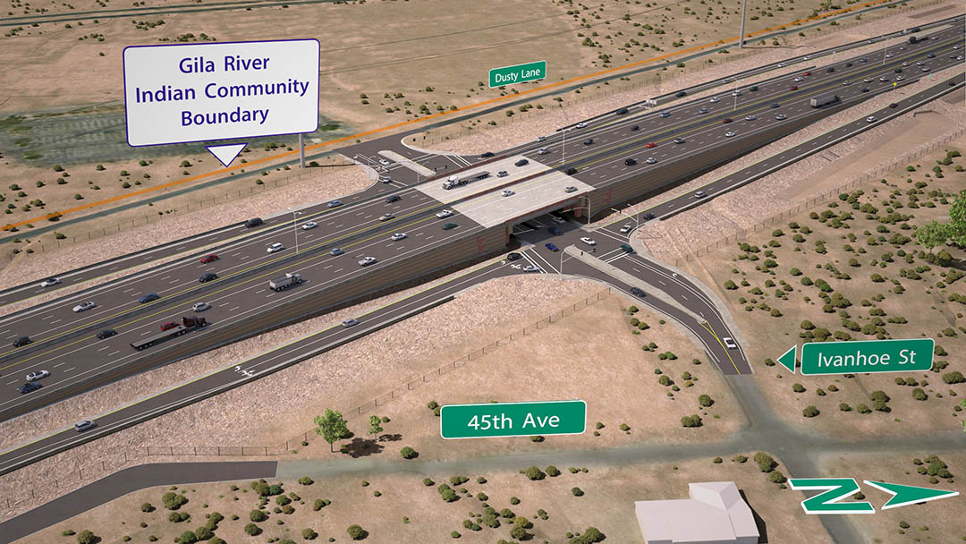 I-10 and Ivanhoe Traffic Interchange Rendering
