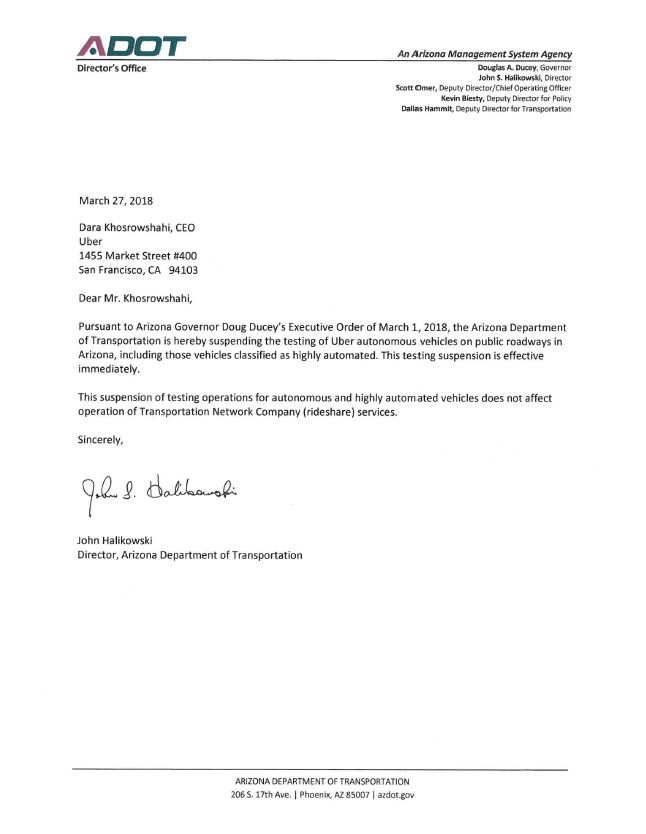 Letter from Governor Ducey suspending autonomous vehicle testing by Uber - March 27, 2018