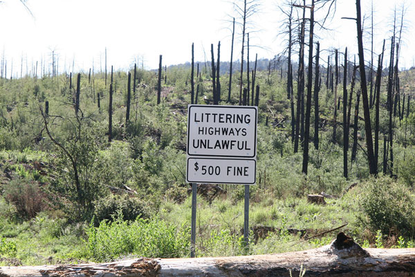 Littering Highways Unlawful Sign - $500 Fine