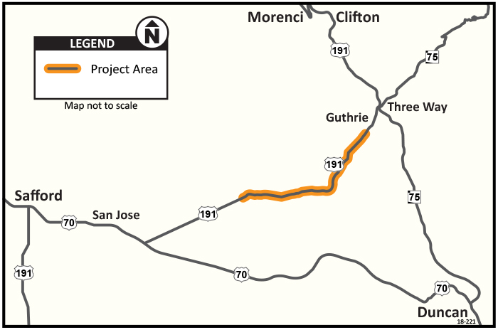 US 191 Project Map showing project area between Safford and Morenci