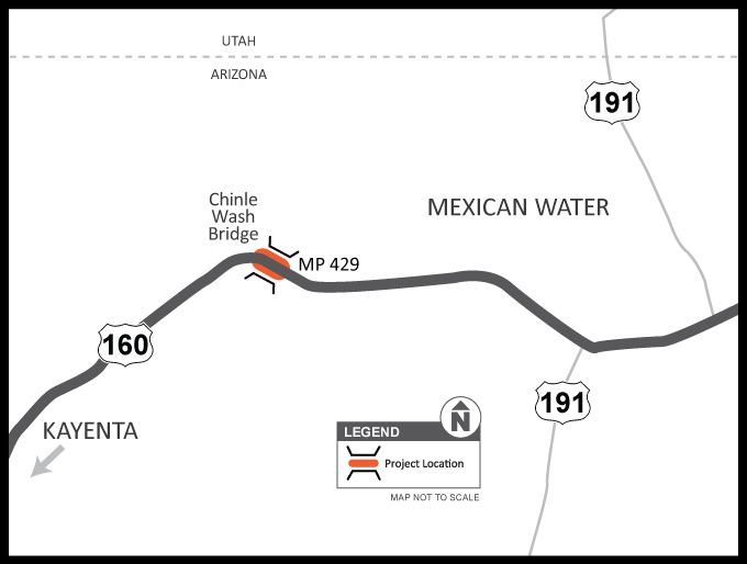 US 160 Chinle Wash Bridge Project Map