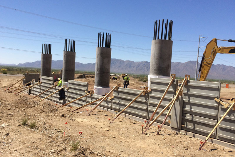 Bridge Walls being assembled on South Mountain Freeway and 17th Avenue