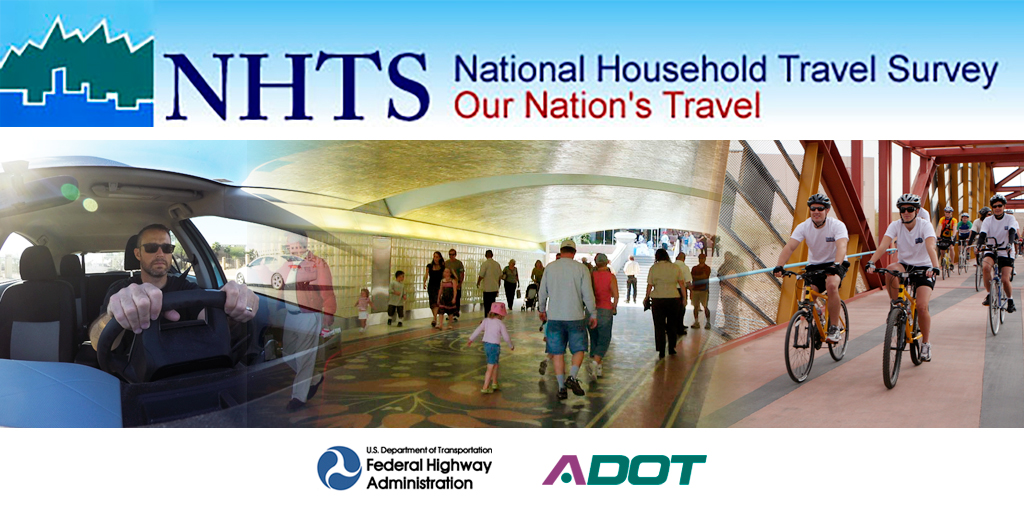 National Household Travel Survey Banner showing people driving, walking and biking