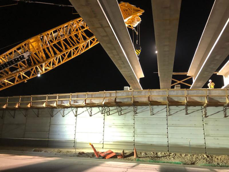 South Mountain Freeway - Setting Girders at Night at 24th Street