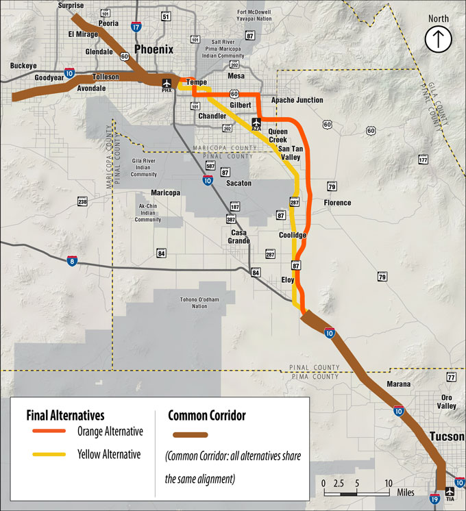 Passenger Rail Study Orange and Yellow Alternatives Map
