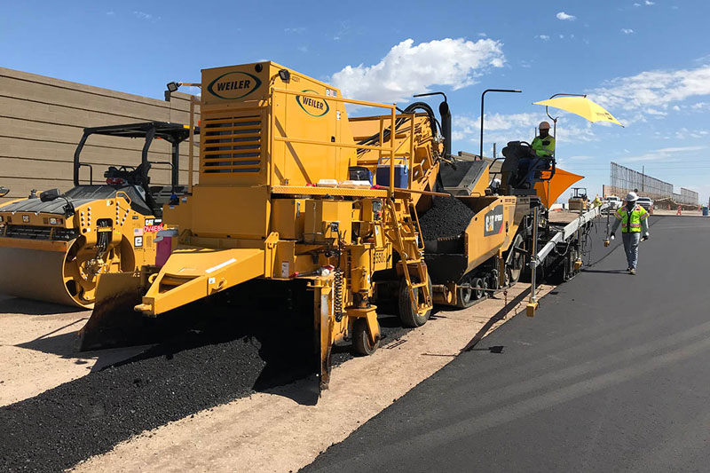 South Mountain Freeway Project: Crews paving Pecos Rd.