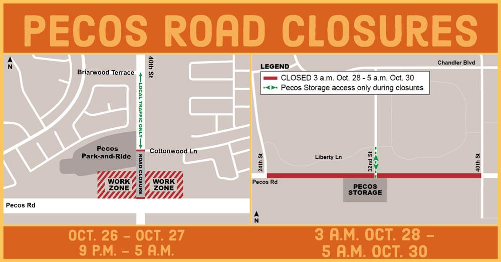Pecos Road Closures - October 26-30, 2017