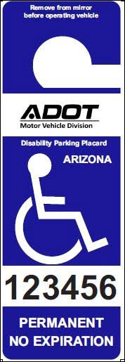 ADOT Disability Parking Placard Example