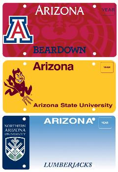 Samples of the new Arizona University license plates: University of Arizona, Arizona State University and Northern Arizona University