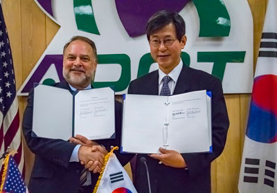 ADOT Director John Halikowski and Key Cheol Lee, the Republic of Korea consult general in Los Angeles