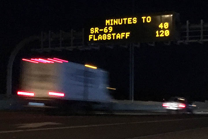 Dynamic Message Board on I-17 with Travel Times for SR 69 and Flagstaff