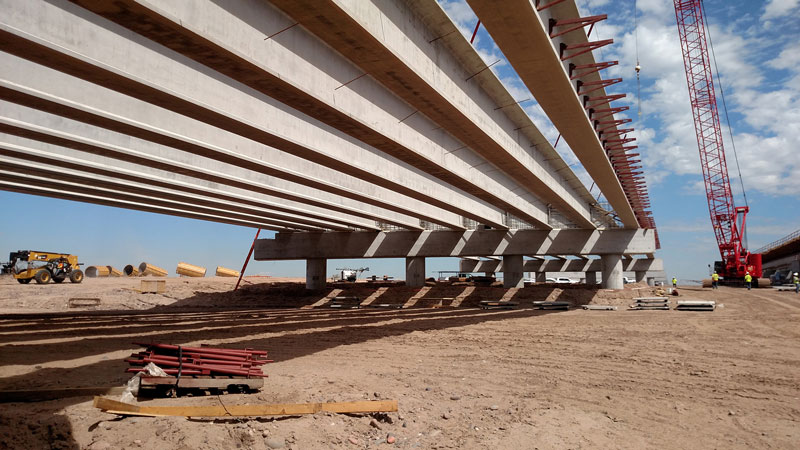 Girders at Salt River crossing on South Mountain Freeway project