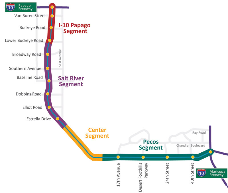 South Mountain Freeway Project Map showing I-10, Salt River, Center, and Pecos Segments