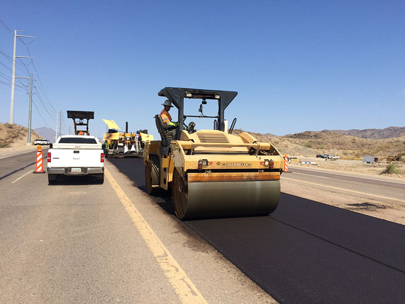 Pavement Roller on Pecos Road - South Mountain Freeway Project