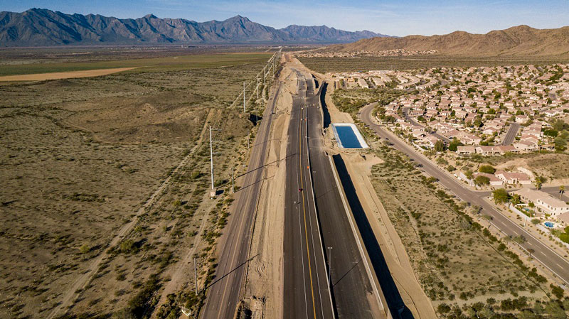 South Mountain Freeway Project: Aerial View of Pecos Road Traffic Shift