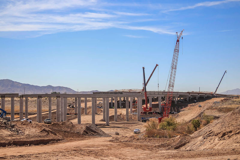 South Mountain Freeway Salt River Bridge Construction - side view