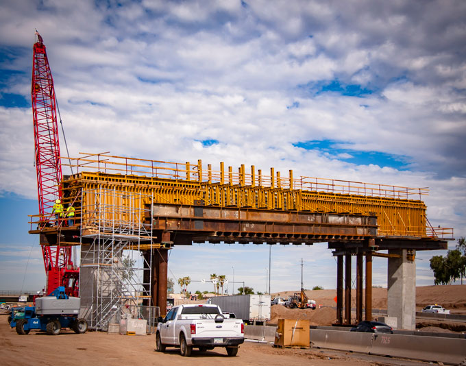 South Mountain Freeway Straddle Bent under construction