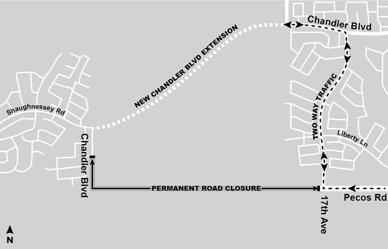 Road Closure Map - Pecos Road west of 17th Avenue - South Mountain Freeway Project