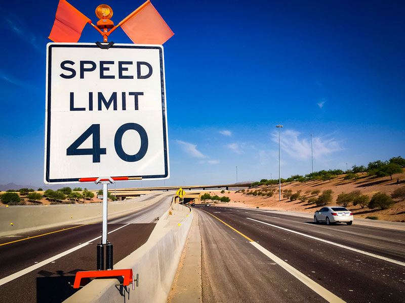 Speed Limit 40 - sign on Pecos Rd - South Mountain Freeway Project