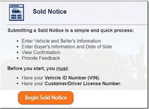 Screen shot of Sold Notice process on ServiceArizona
