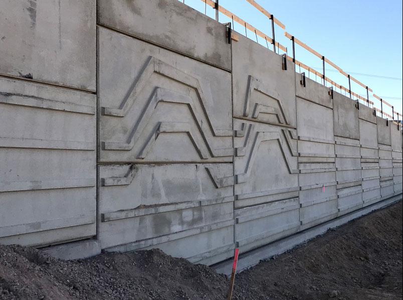 South Mountain Freeway; Retaining walls installation