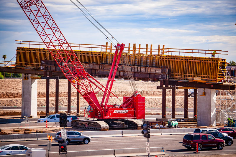 Traffic on I-10 during South Mountain Freeway construction