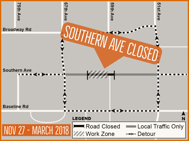 South Mountain Freeway - Southern Avenue closure map - Nov 27 - March 2018