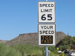 Speed Limit sign along I-17 with dynamic message: Too Fast